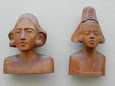 Pair Vintage Hand Carved Wood Figurines Exotic Women From Bali