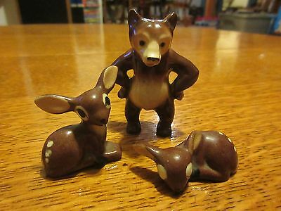 3- Hagen Renaker miniatures made in America  Fawns with spots and Bear retired