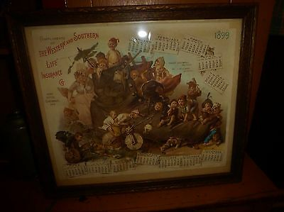 Vintage Western Southern Life Calendar 1899 Old Woman Shoe Children Bicycle Dog