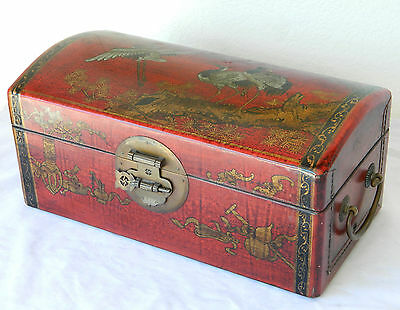 Vintage Asian/Chinese Wood Leather Wine/Liquor Box Hand Painted /Lacquered