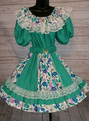 Pitchfork Brand Floral Square Dance Dress 3pc Outfit Skirt Shirt and Belt #1245