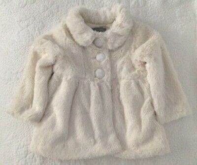Pumpkin Patch Baby Girl Cream Off White Fur Jacket Size 24 Months/2 Toddler