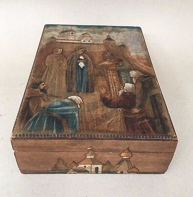 Antique Vintage Russian Hand Made Wooden Folk Art Box Religious Nativity Scene