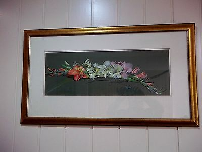 Pastel Painting of Gladioli , signed by artist , circa 1994 .