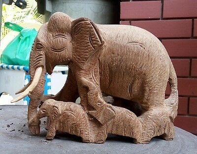 Gorgeous Hand Carved Elephant with 6 baby Teak wood