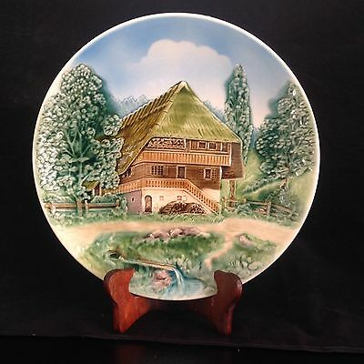 VINTAGE West German WALL PLATE Relief CHALET DESIGN