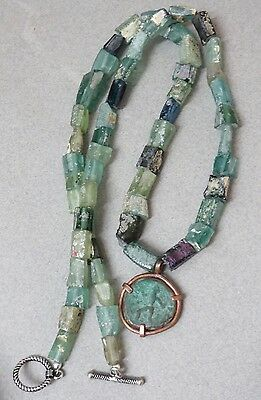 Ancient 2,000 Year Old Bactrian,Roman Glass Shard Bead Necklace/Ancient Coin