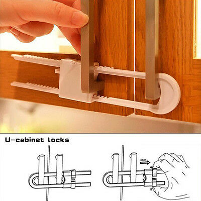 2pcs Child Infant Baby Kid Safety Drawer Door Cabinet Cupboard U Shape Lock