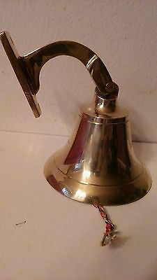 "Fire Department Solid Brass Bell 5"" Anchor Bracket Nautical Maritime Dinner Bell"