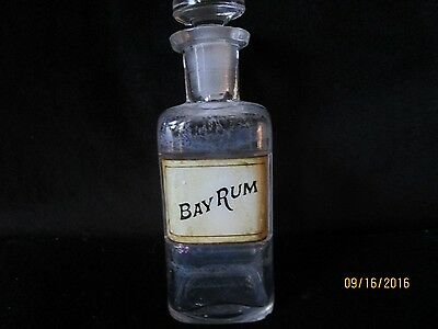"""Antique Pharmacy Apothecary Bottle with stopper, label under glass 5 1/2"""" W.T.Co"""