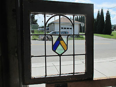 ANTIQUE AMERICAN STAINED GLASS WINDOW 21.5 x 23.75 #2 ARCHITECTURAL SALVAGE ~