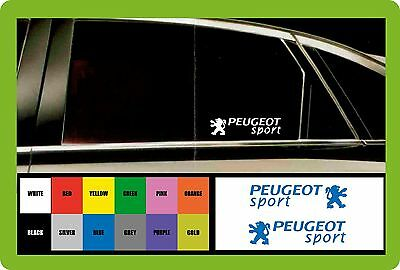 PEUGEOT SPORT - 2 x CAR DECAL STICKERS  - Fits any - 145mm long - Colour Choice!