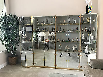 WALL UNIT-  4 Piece Mirrored and Glass Lighted Curio Display Cabinet