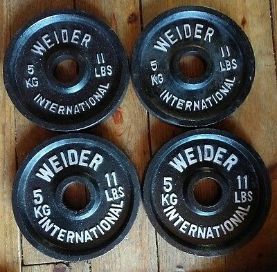 "Vintage Weider 2"" 11 Lb  Olympic Weight Plates  Two 11 Pound Plate 2x11 lbs 5 kg"