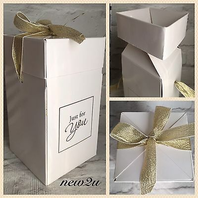Flat Packed LUXURY LARGE CANDLE GIFT BOX White/Gold WITH RIBBON 9x9x17cm High