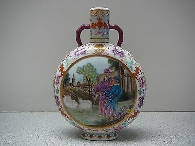 Small famille rose foreigners moon flask vase Qianlong mark and Republic period