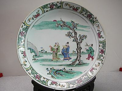 Extra fine large Chinese porcelain wucai famille verte plate 18thC Kangxi period