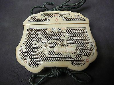 Important Chinese Canton carving of Incense Box Pouch Mid-Qing 18thC/ 19thC