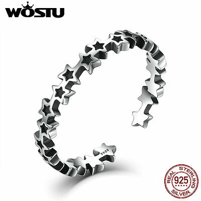 Wostu r Ancient S925 Sterling Silver open Ring Jewelry with Stars For Women/men