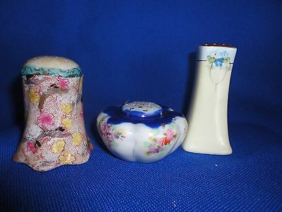 3 Mismatched Vintage Antique Salt and Pepper Shakers
