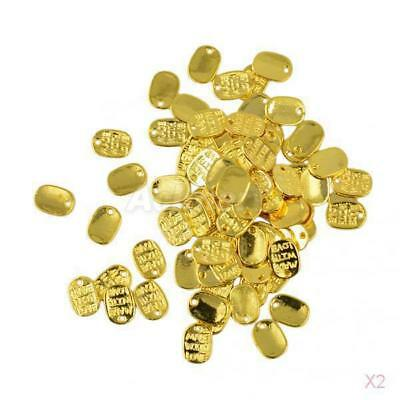 2x 50Pcs Gold Plated MADE WITH LOVE Charms Pendants Beads Jewelry Accessories