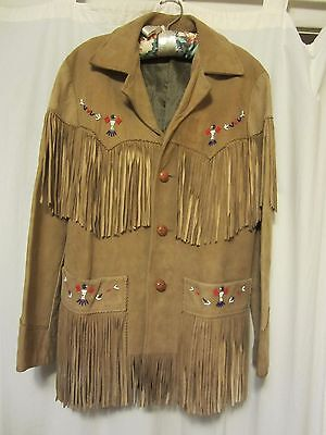 Vintage Trego's Westwear Sz 38 Tan Fringed Beaded Buttery Soft Suede Jacket NICE