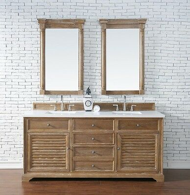 "72"" James Martin Savannah Driftwood Double Bathroom Vanity With White Quartz Top"