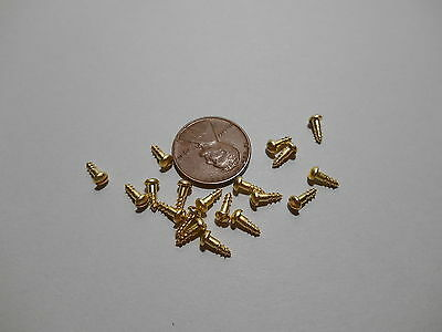 "20 #1 1/4""  SLOTTED BRASS WOOD SCREWS w/ ROUND HEAD FOR ANTIQUE CLOCK REPAIR"
