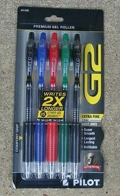 5 PILOT G2 0.5mm. X Fine Point RT Gel Pens, BLUE Black GREEN Red INK