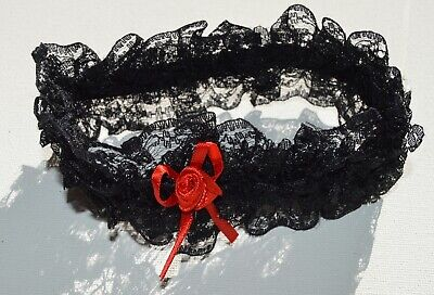 NEW Black lace with red ribbon bow gothic wedding bride garter