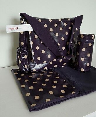 CATH KIDSTON Nappy Changing Bag Navy Button Spot Brand New