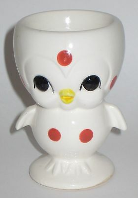 LITTLE White CHICK w/RED Polka DOTS Vintage JAPAN Pottery EGG CUP