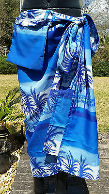 1  lot of 6  Tropical Palm Tree Sarongs With A POCKET! Swimsuit Bikini Coverups