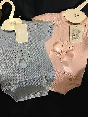 Spanish Baby Boys Girls Knitted Top Shorts Set 2 Piece 0-3 3-6 6-12 M Pink Blue