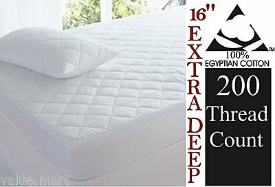 Luxury  Egyptian Cotton Quilted Mattress Protector 40cm Extra Deep skirt