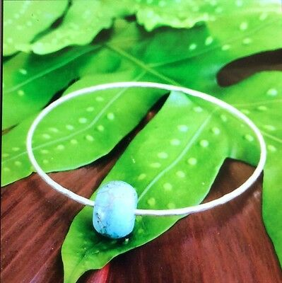 Handcrafted Hawaiian Shell Sterling Silver Bangle
