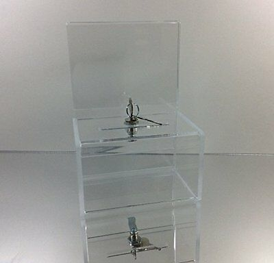 Dazzling Displays Clear Acrylic Mini Donation Box with Cam Lock and 2 Keys