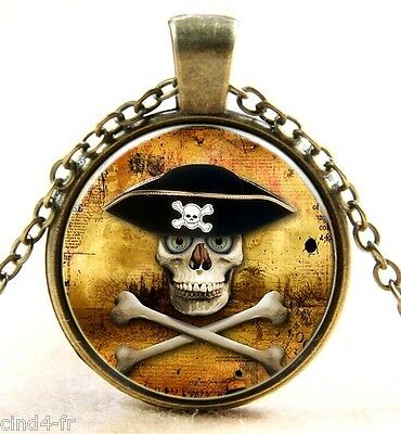 Médaillon vintage + chaine bronze-Medallion + Chain necklace-Skull/pirate/crâne