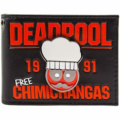 New Official Deadpool Chef 1991 Free Chimichangas Black Id & Card Bi-Fold Wallet
