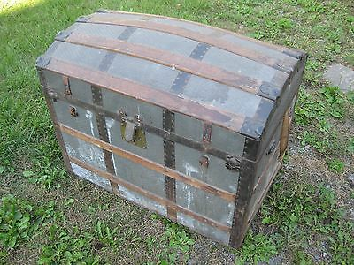 Antique Dome Top Steamer Trunk Storage Chest