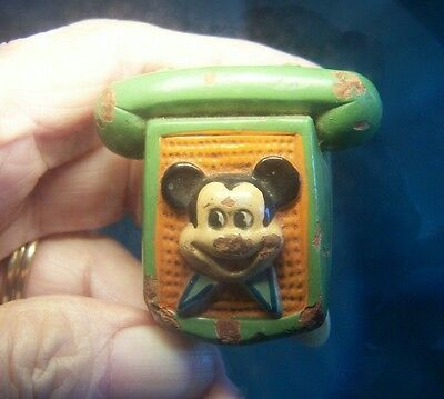 Vintage Mickey Mouse Telephone Pencil Sharpener - Chalkware - Tlc