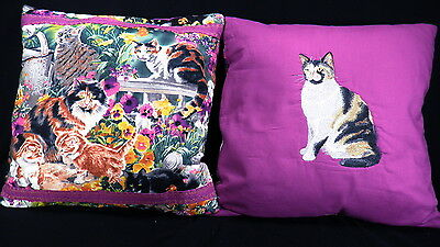 Cat ~ Kitty Animal Pillow ~ Complete Pillow & Cover Handmade Embroidered