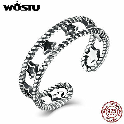 Wostu Ancient S925 Sterling Silver open Ring Jewelry with Star Cz For Women/men
