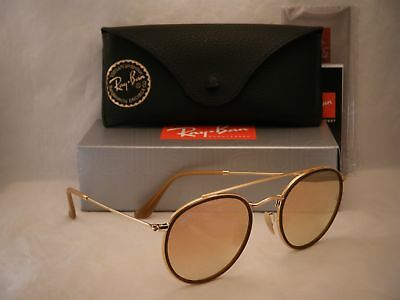 d8507ab2093 Ray Ban 3647N Round Double Bridge Gold w Pink Gradient Mirror (RB3647N  001 7O