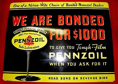Nos Pennzoil Bonded $1000 2 Sided Tin Sign Ultra Rare Oil Gas Petro Nice Wow!!!