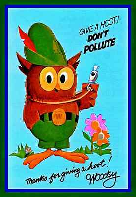 Woodsy Owl Give A Hoot Metal Sign U.s. Forest Service Rustic Vintage Smokey Bear