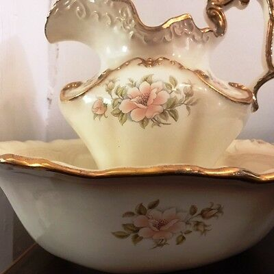 Bowl & Jug - Chamber Pot or Wash Basin with gold colour antique style