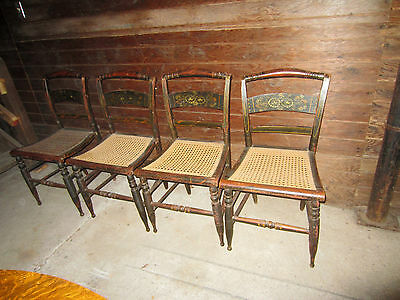 Set of 4 antique stenciled side-chairs with hand caned seats circa 1830