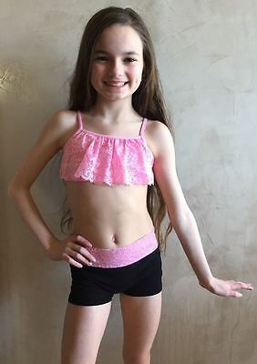 New Kurve 2Pc Pink Lace Top & Black Dance Shorts Girls Osfa S M L 5 6 7 8 9 10