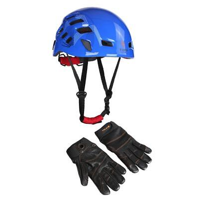 Safety Climbing Helmet + 1 Pair Leather Full Finger Rope Access Gloves Large